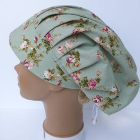 """Operačná čiapka pre dlhé vlasy """"Ružičky"""""""
