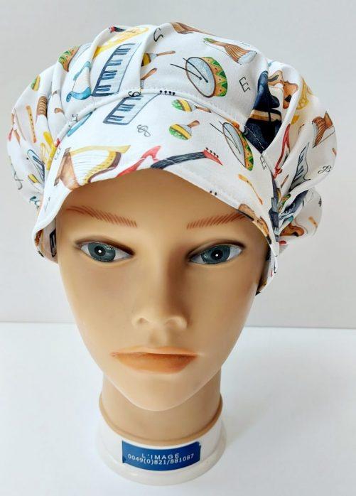 """Operačná čiapka pre dlhé vlasy """"Muzika"""""""